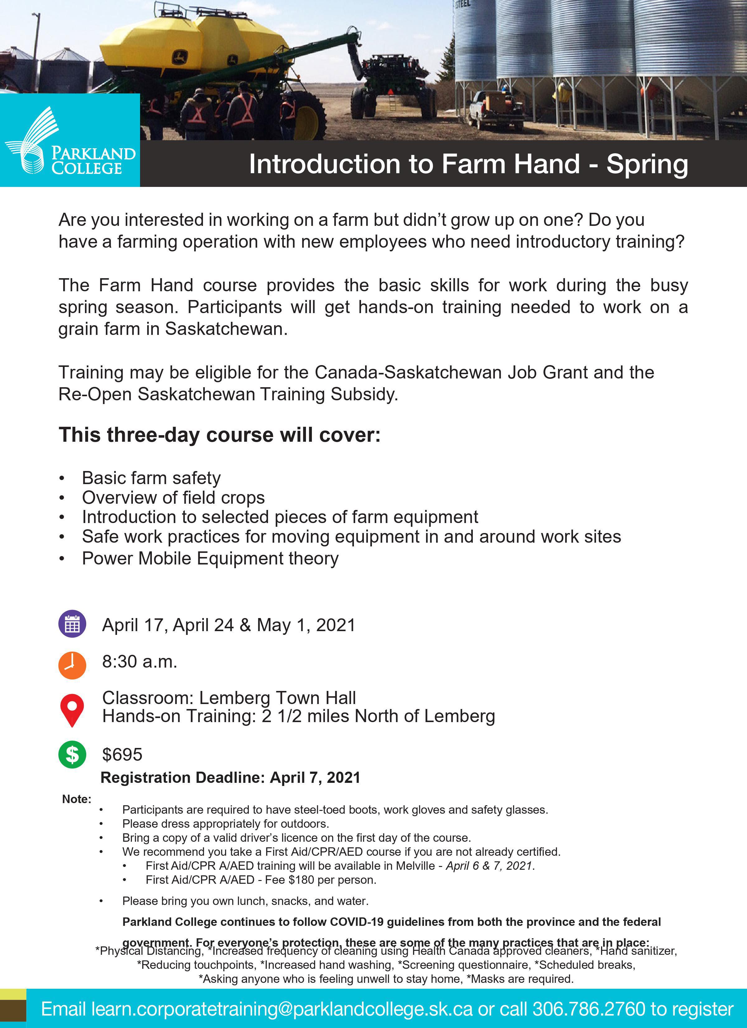 Farm Hand training information