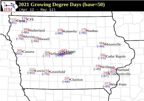 Accumulated growing degree days (base 50 F)