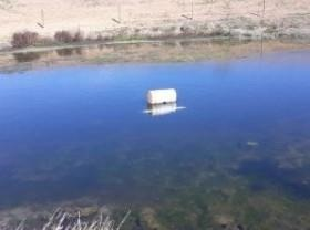 A floating barrel suspends the pond water inlet 12-18 inches below the surface