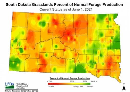 South Dakota grasslands percent of normal forage production