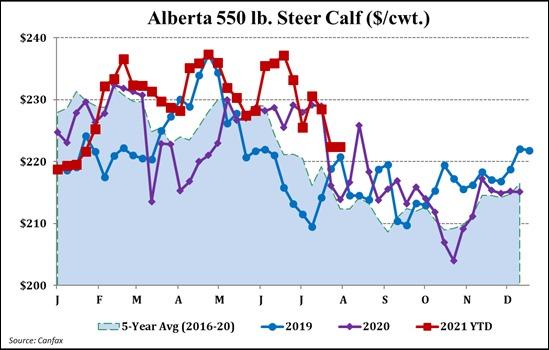 Alberta 550 lb Steer Calf ($/cwt)