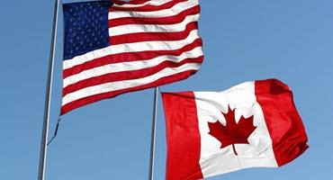 U.S. and Canadian flags