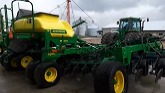 Getting The John Deere air seeder Ready to no till beans and plant green peas this season